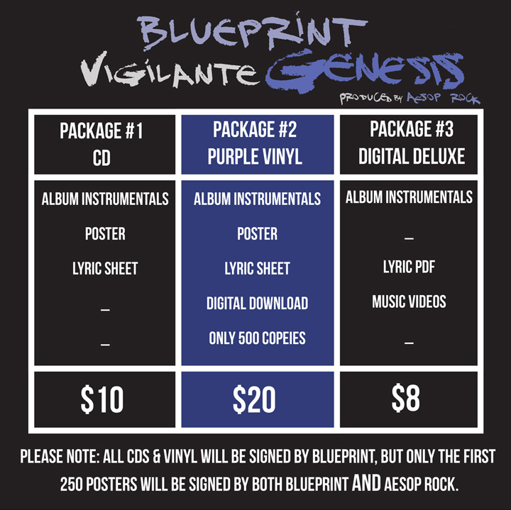 Blueprint announces vigilante genesis collaboration with aesop are calling on all of our true fans to support this project by preordering your limited purple vinyl lp cd deluxe digital or t shirt package here malvernweather Images